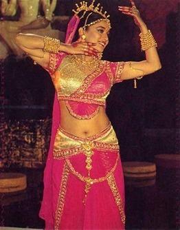 Golden Blue Kathak Dance Costume