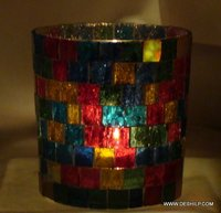 Mosaic Glass Candle Holder Handmade Votive