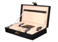 Hard Craft Watch Box Case PU Leather for 8 Watch Slots with Jewellery slots - Black