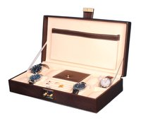 Hard Craft Watch Box Case PU Leather for 8 Watch Slots with Jewellery slots - Brown