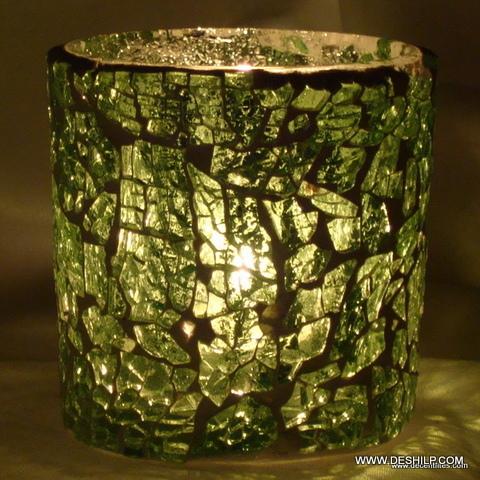 Round Mosaic Green Glass T-Light Candle Holder Lantern