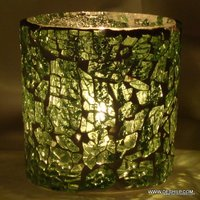 Round Mosaic Green Glass T-Light Candle Holder Lantern