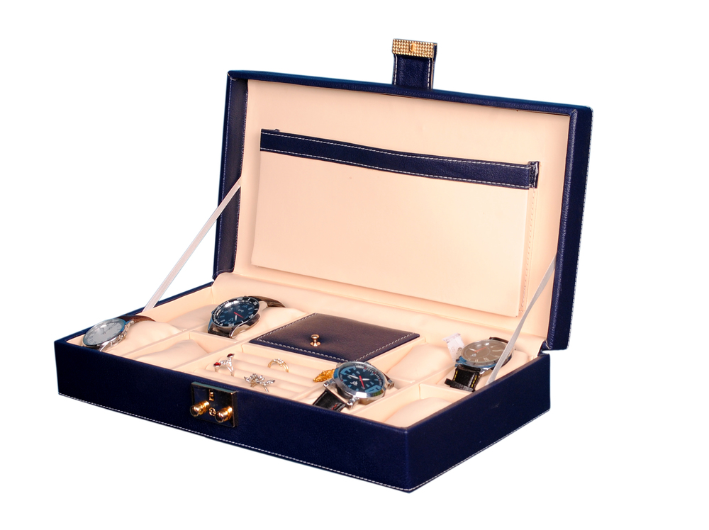 Hard Craft Watch Box Case PU Leather for 8 Watch Slots with Jewellery slots - Blue