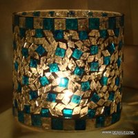 Blue Mosaic Glass Goblet Votive Tumbler Shape