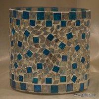 Blue Mosaic Glass Goblet Votive Tumbler Shape