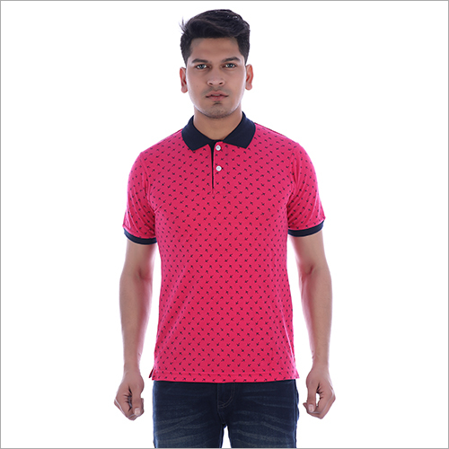 Mens Collar Pink T-Shirt