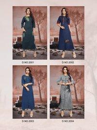 Ladies embroidered denim gown
