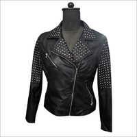 Ladies Biker Beaded Leather Jacket
