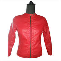 Ladies Leather Red Jacket