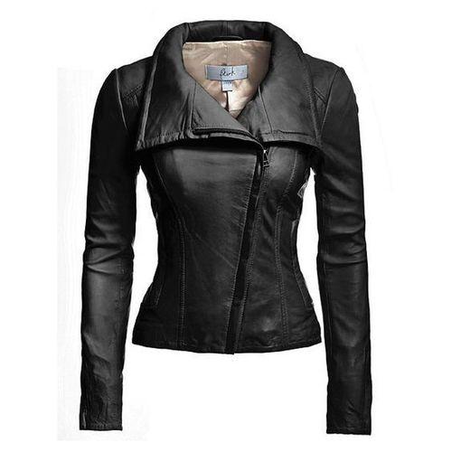 Ladies Pure Black Leather Jacket