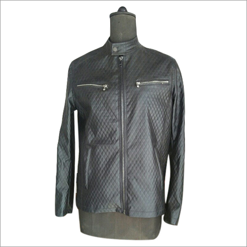 Mens Pure Black Leather Jacket