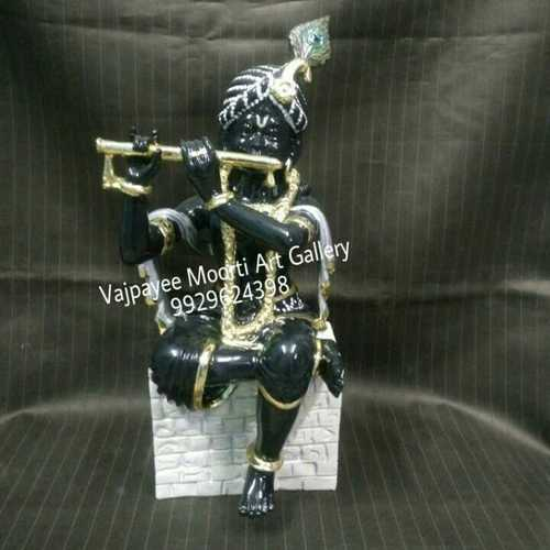 Handcrafted Black Marble Krishna Statue
