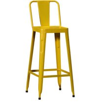 Metal Low Back Bar Chair Yellow Colour