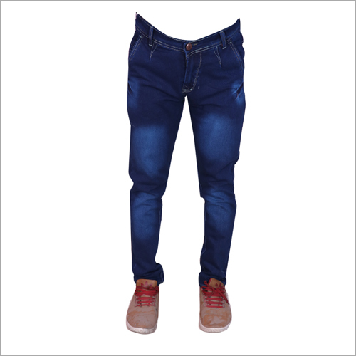 Mens Dark Blue Shaded Regular Fit Stretchable Jeans