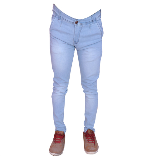 Mens Ice Blue Shaded Regular Fit Stretchable Jeans