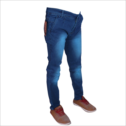 Mens Light Blue Shaded Regular Fit Stretchable Jeans