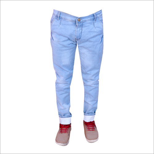 Mens Light Blue Shaded Regular Fit Full Stretchable Jeans