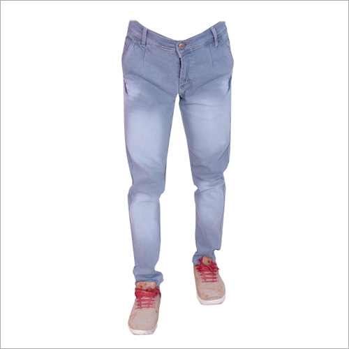 Mens Light Grey Shaded Regular Fit Full Stretchable Jeans