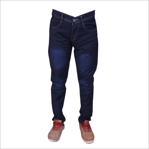Mens Navy Blue Regular Fit Stretchable Jeans