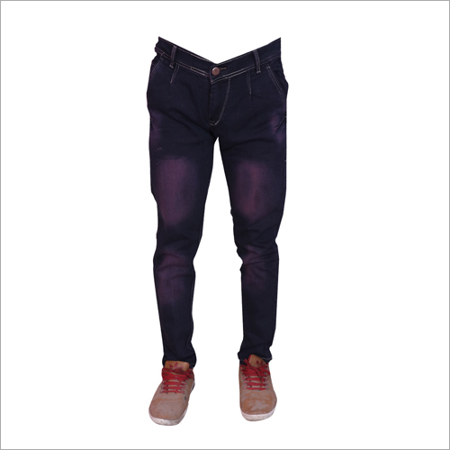 Mens Purple Shaded Regular Fit Stretchable Jeans