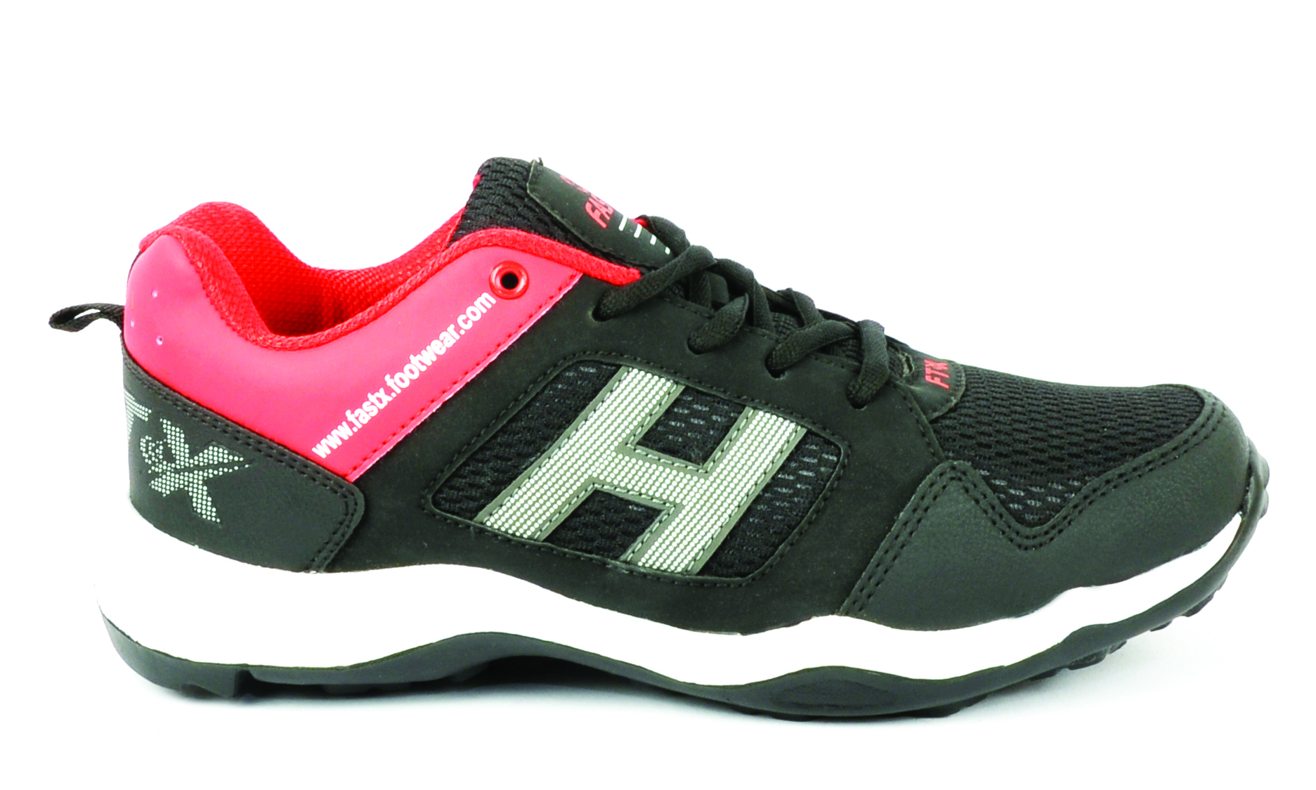 Black & Red Mesh Sports Shoes