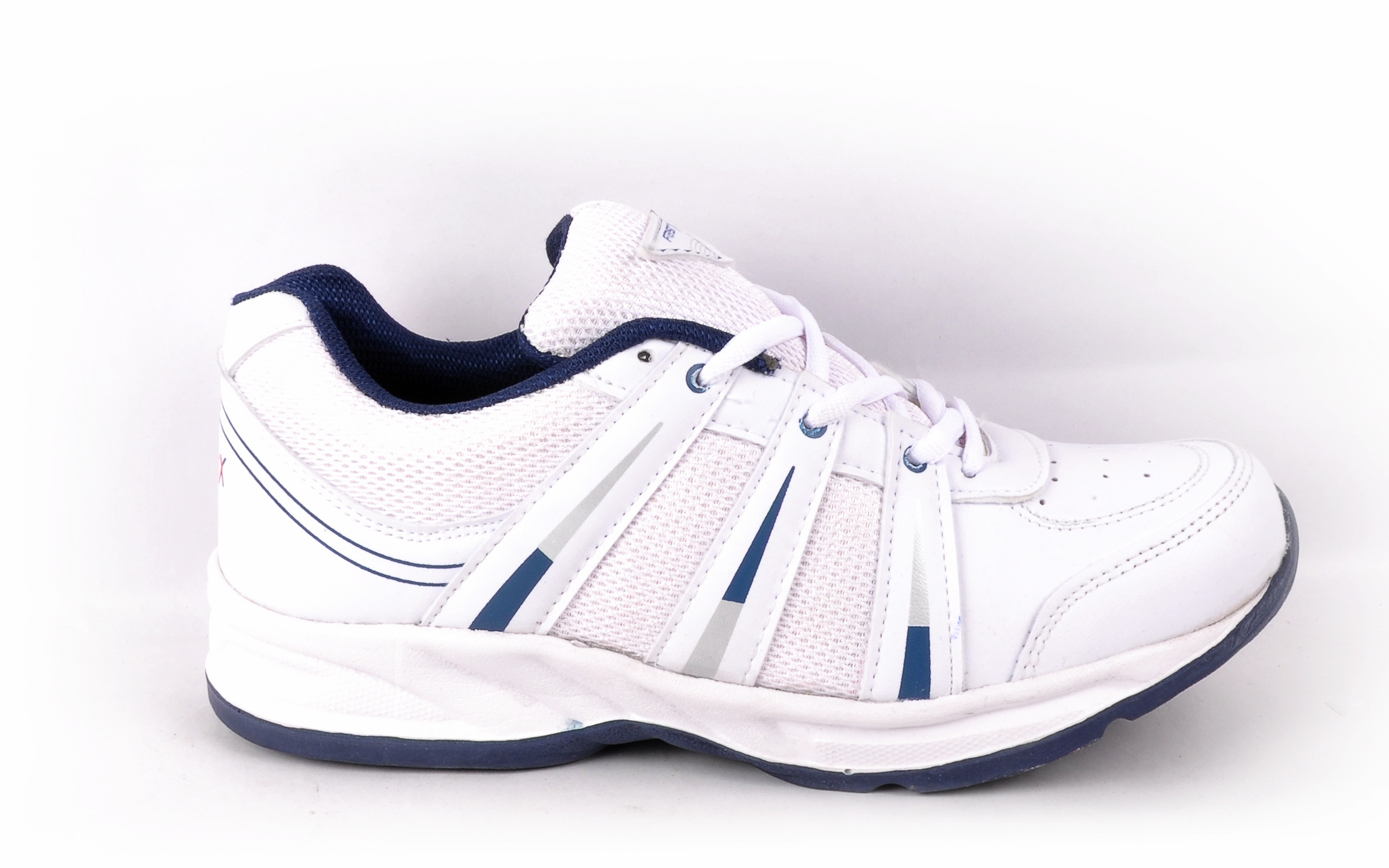 white blue sports shoes