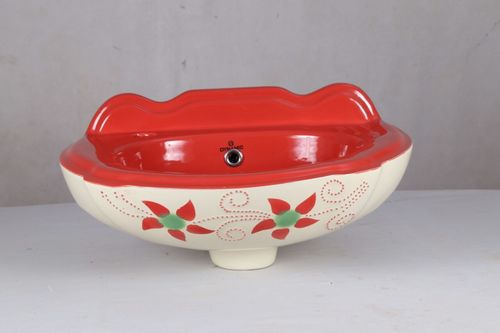 Rani Red Printed Wash Basin