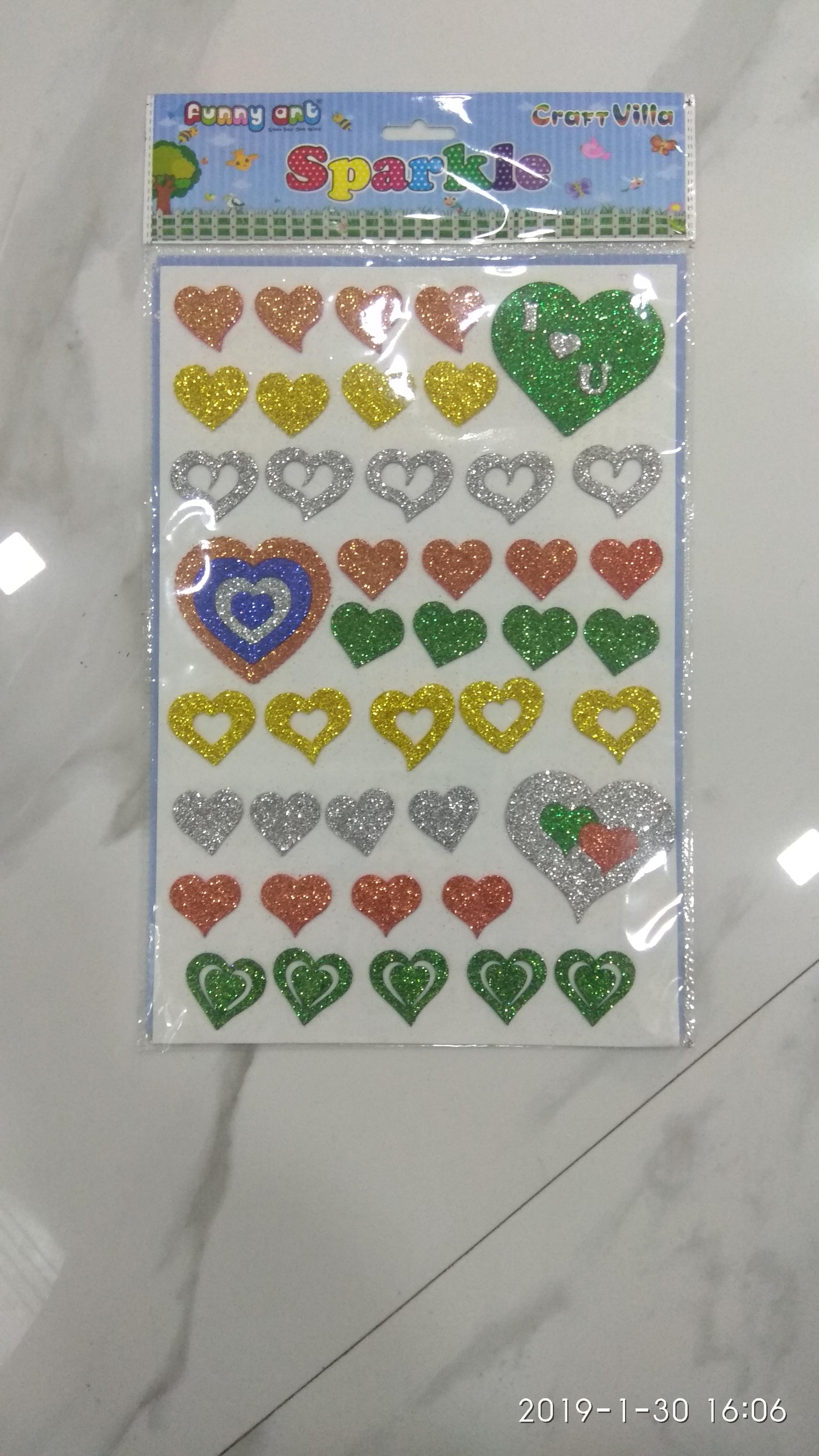 Craft Villa Sparkle Heart Glitter Sticker