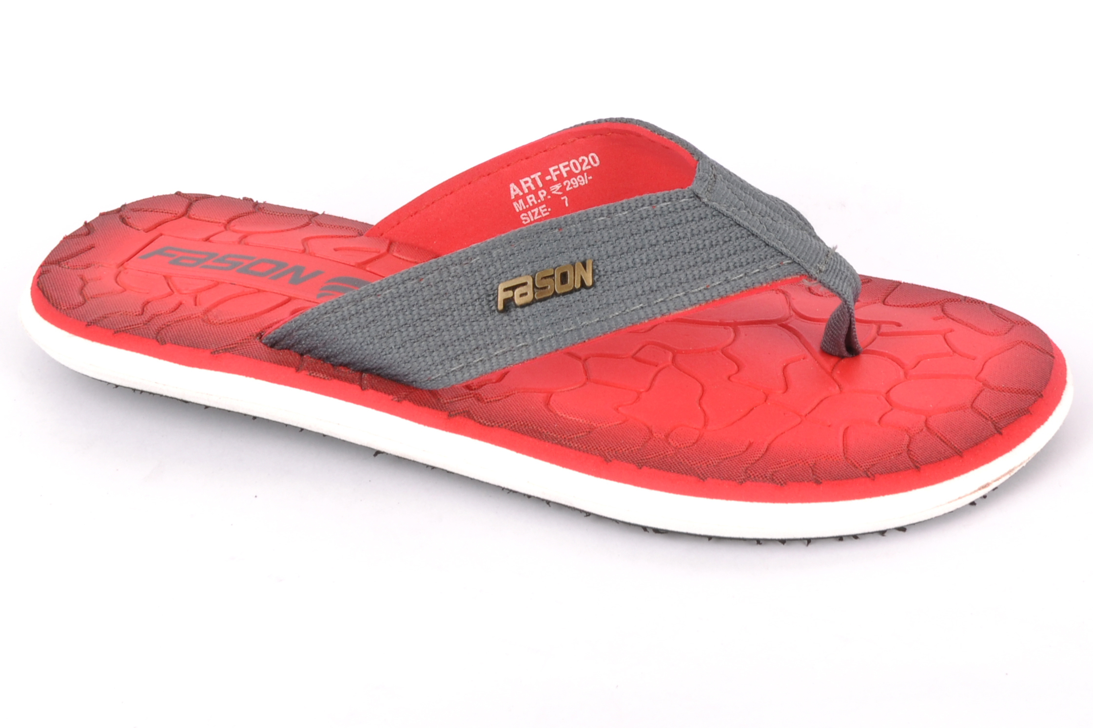 Red & grey flip flop slipper