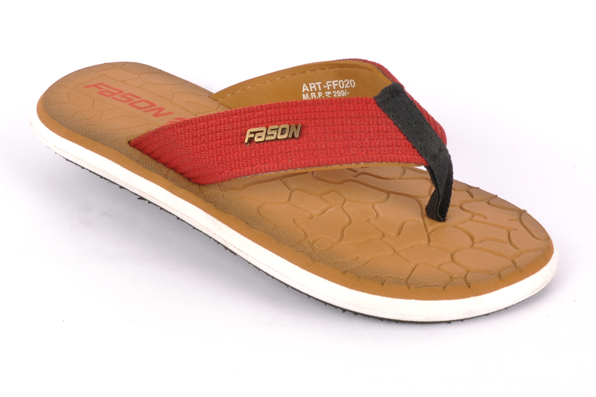 Tan Red Flip Flop slipper