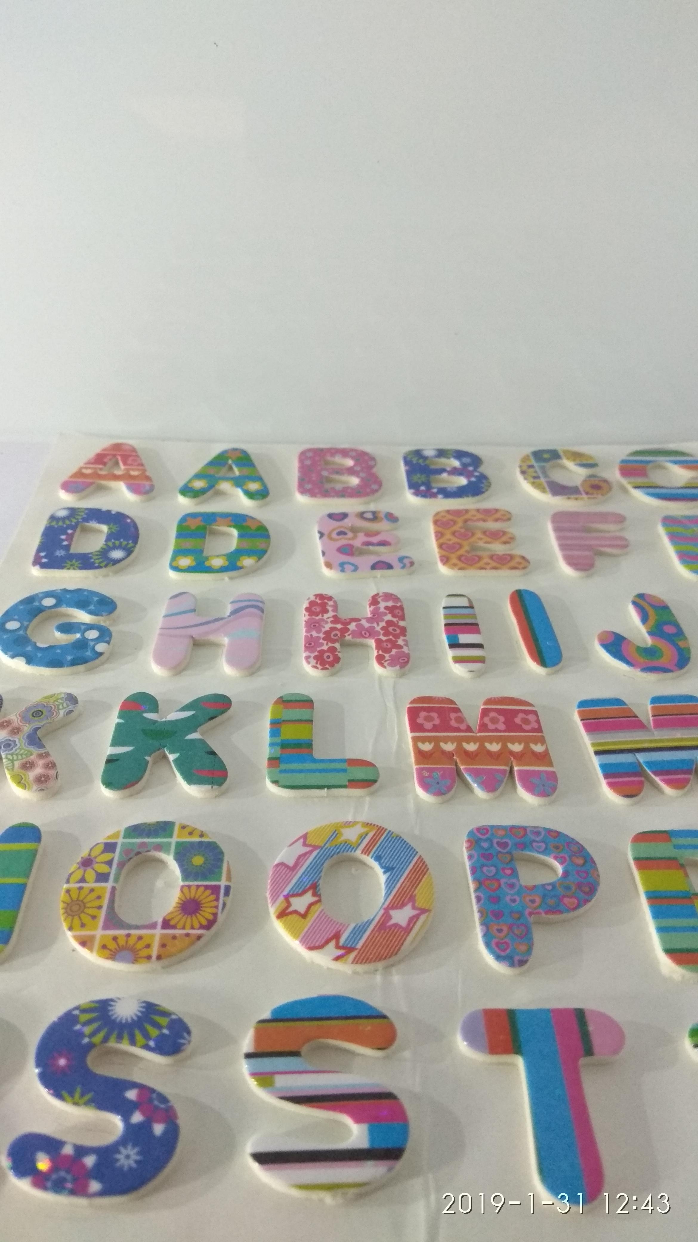 Craft Villa Glare Alphabet Print Sticker