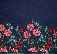 Handwork Embroidery On Denim Fabric