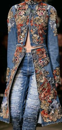 Denim Fabric with Customized Hand work Embroidery