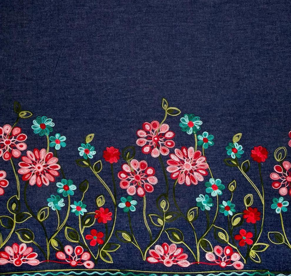 Denim Embroidery Fabric