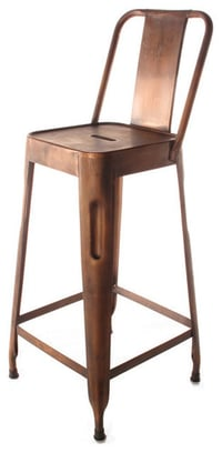 Metal Low Back Bar Chair Copper Finish