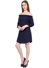 Ladies Plain Navy Dress
