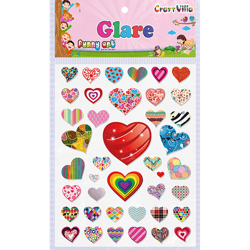 Craft Villa Glare Heart Print Sticker