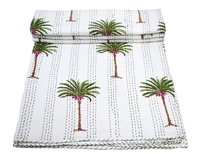 Tree of Date Palm Print Design Twin Kantha Quilt