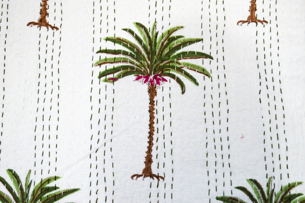 Palm Tree Print Design Twin Kantha Bed cover