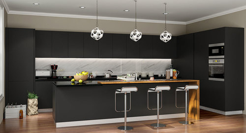 Matt Lacquered Glass Modular Kitchen