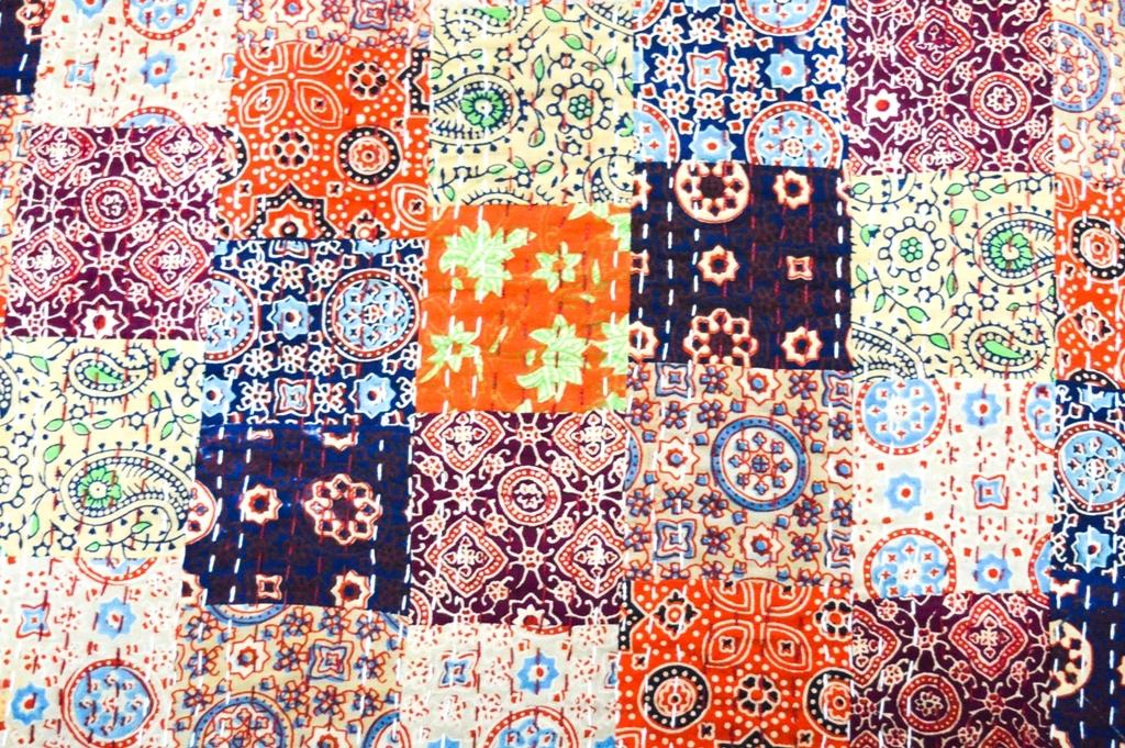 Patchwork vintage Kantha Quilt Embroidery Work