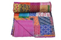 Classical Floral Patchwork Embroidery Work Kantha Quilt