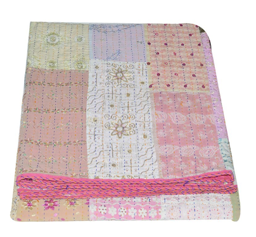Patchwork Twin Kantha Quilt