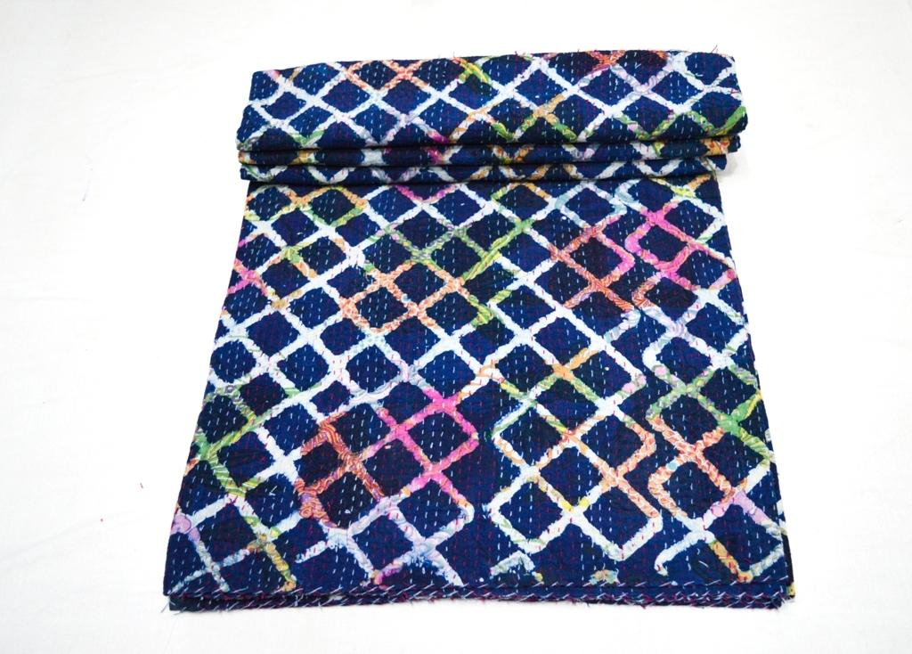 Tye Dye Indigo Printed Twin Kantha Quilt