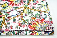 Flower leaf Printed Twin Size Kantha Quilt