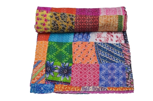 Queen Size Patola Kantha Quilt
