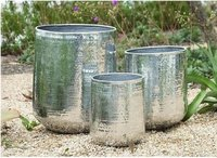 Set of 3 Large Round Hammered Metal Planters