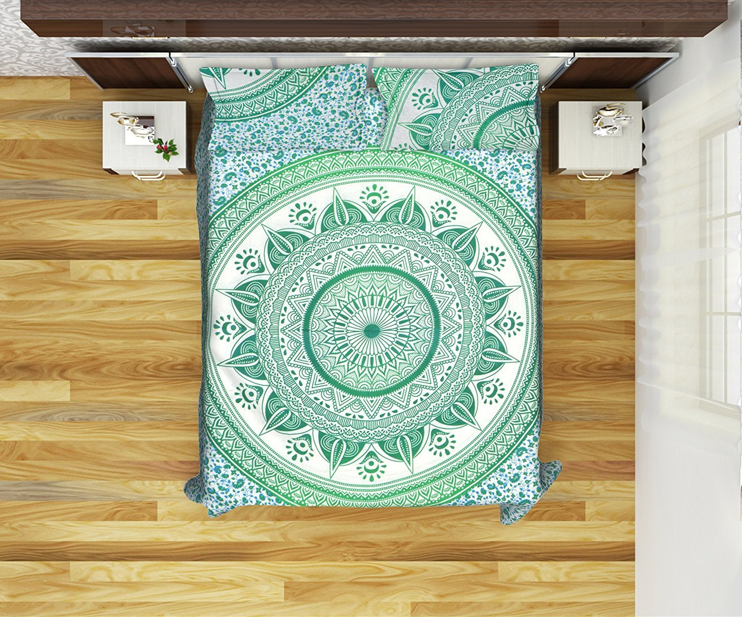 Mandala Reversible Queen Size Duvet Cover With 2 Pillowcases