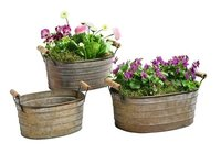 Set of 3 Planters With Wooden Handles