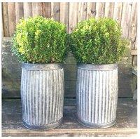 Grey Zinc Galvanised Metal Garden Planter